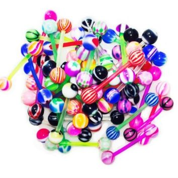BodyJ4You Tongue Ring Assorted Lot of 20 Flexible Barbells 14 Gauge Piercing Jewelry
