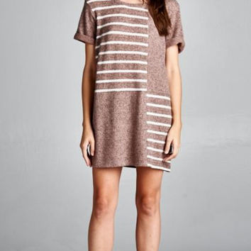 With Ease Striped Dress - Taupe