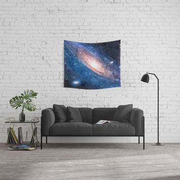 Blue nebula, colorful galaxy, deep space, stars on dark sky, cosmic, Andromeda v2 Wall Tapestry by Casemiro Arts - Peter Reiss