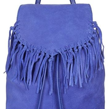 Topshop Suede Fringe Leather Backpack