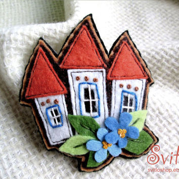 Fairy House Felt Brooch Textile Jewelry Unusual gift Home Sweet Home