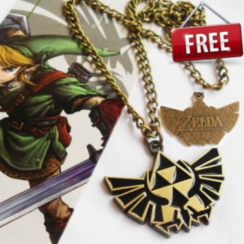 Legend of Zelda Link Symbol Logo Bronze Metal Chain Pendant Necklace
