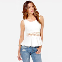 White Sleeveless with Crochet Accent Peplum Top