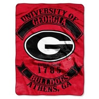Georgia Bulldogs NCAA Royal Plush Raschel Blanket (Rebel Series) (60x80)