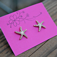 Starfish Stud Earrings Gold Glittery Beachy Sea Nautical