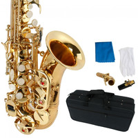 Stylish Golden Carve Patterns Band#9837 Soprano Saxophone Brass With Pearl White Shell Buttons - Default