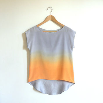 Ombre Silk Shirt.  Silver, Apricot.