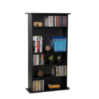 Media Storage Cabinet Adjustable 6-Shelves Bookcase  Home Office Furniture Black