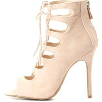 Peep Toe Cut-Out Lace-Up Heels by Charlotte Russe - Nude