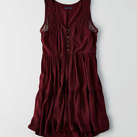 AEO Tiered Shift Dress, Wine