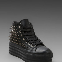 UNIF Koop Leather Studded Sneaker in Black/Silver from REVOLVEclothing.com