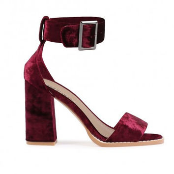 MARLO BUCKLE HIGH HEELS IN BORDEAUX VELVET