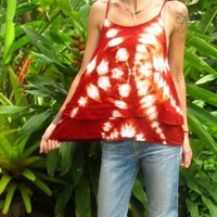 Tie Dye Burnt Orange Cotton Vest Swing Top Cami Shibori Hippie Boho Travel Indie | eBay