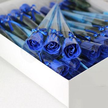 DCCKWQA 10Pcs/lot Artificial Rose Bouquet Handmade Simulation Soap Flower Red/Pink/Blue/Purple Rose Flowers Valentine's Day Gift K2