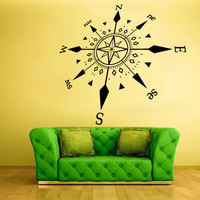 Wall Decal Vinyl Sticker Decor Art Bedroom Design Mural Rose Wind West South Nord Compass (z783)