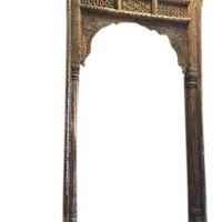 Antique ARCHWAY Teak Welcome Gate Headboard Hand Carved Vintage OLd World Architectural Design