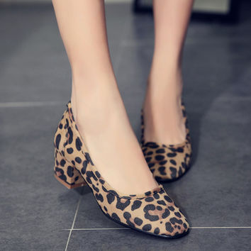 Square Toe Faux Suede Chunky Heels Pumps Women Shoes 2049