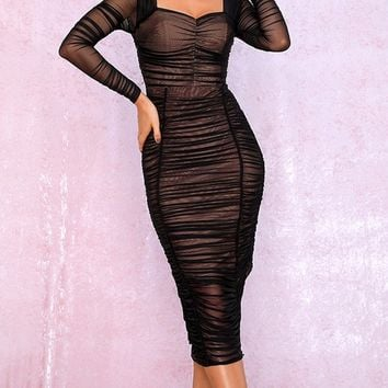 Getting It Right Black Sheer Mesh Long Sleeve Sweetheart Neck Ruched Bodycon Midi Dress