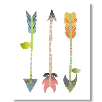 Arrow Art Print, Tribal Arrow Print