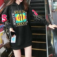 """Gucci"" Women Fashion Rivet Decoration Letter Print Hooded Long Sleeve  Sweater Tops"