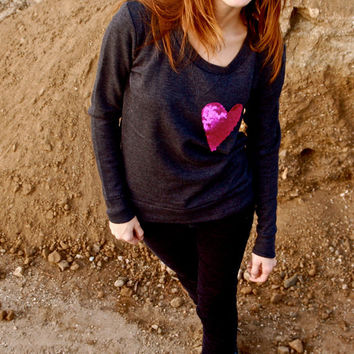 "The ""Dazzle Pocket"" Sweatshirt - Charcoal(Shown) w/Sequin Heart Chest Pocket"