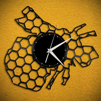 Bee Clock, Geometric Hexagon Bumble Bee Wall Art, Honey Bee Vinyl Decor, Gift for Bee Lover Bee Keeper, Vinyl Record Retro Modern Decoration