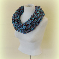 Knit cowl scarf, Teal black grey gray knitted chunky cowl scarf, hand knitted scarf, loop scarf, knitted scarves, thick winter scarf
