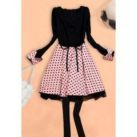 Sweet Scoop Neck Polka Dot Long Sleeves Splicing Design Skinny Polyester Dress For Women