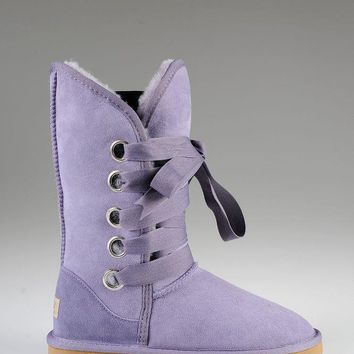 ESBON UGG 5818 Tall Lace-Up Women Fashion Casual Wool Winter Snow Boots Purple