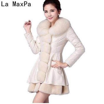 LA MAXPA 2017 Winter Imitate Fox Fur Grass Loose Female Coat Down Jackets Woman Special Parka Wool Blend Leather Women New