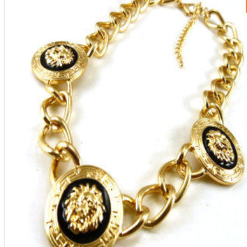 Lion Head Necklace gold necklace charm necklace gold chain versace style