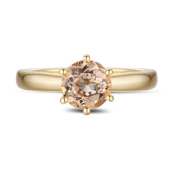 VS 7mm Pink Morganite Ring Morganite Wedding Ring Engagement Ring 14K Yellow Gold Ring Anniversary Ring Gemstone Ring