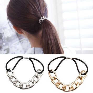 2016 Korean Punk  hair bands Gold Silver Plated Woman Elastic Hair Band Rope Ties Metal Ponytail Holder Girls Hair Accessories