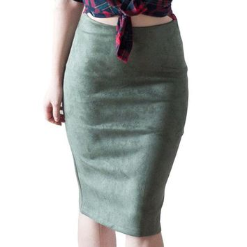 DCCKFS2 Fashion Empire Skirts 2018 Spring Faux Suede Pencil Skirt High Waist Bodycon Split Thick Stretchy Skirts