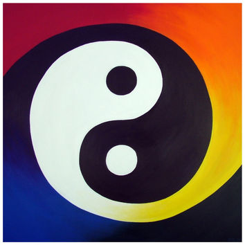 Balance  - Canvas Mini of Rainbow Yin Yang Acrylic Paint Fine Art