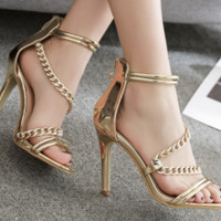 Hot style hot chain sexy fashion stiletto sandals for women