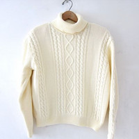 vintage cropped sweater. natural cream sweater. turtleneck sweater. preppy cotton sweater