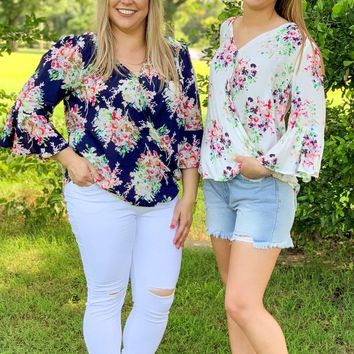Fresh Start Ivory Floral Wrap Top
