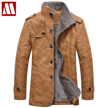 Winter warm motorcycle Leather jacket Men's Casual Jacket luxury fur sheep leather men's Fur coat