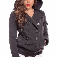 CHARCOAL DOUBLE BREASTED BUTTON HOODED FLEECE JACKET COAT