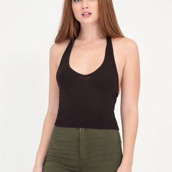 Hey Shorty Ribbed Halter Crop Top GoJane.com