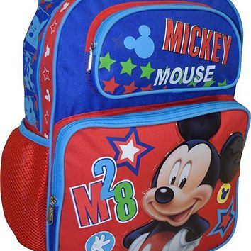 """New Disney Mickey Mouse 16"""" Canvas Blue &  Red 3D School Backpack"""