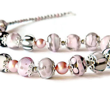 Pink Grey Lampwork necklace, Romantic glass bead necklace, Powder color Wedding necklace, Pastel  lampwork necklace, Classic Elegant jewelry