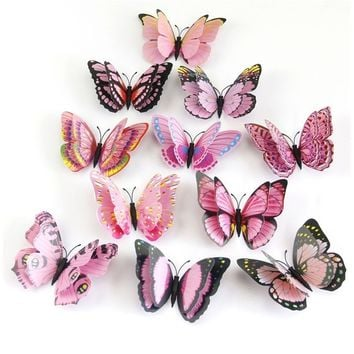 12 Pcs 3D Wall Stickers Butterfly Fridge Magnet Wedding Decoration Home Decor