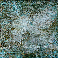 Original Dove Art, Textured Painting Light Blue and Gold