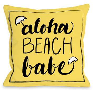 """Aloha Beach Babe"" Outdoor Throw Pillow by OneBellaCasa, 16""x16"""