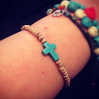 Turquoise cross and wooden beads Bracelet