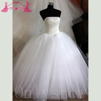 Luxury Pearls Sequins Ball Gown Wedding Dress Bridal Gowns Desses Strapless Tulle Lace-up Custom Made Vestido De Noiva