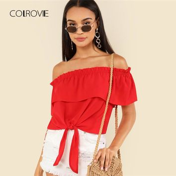 Foldover Off Shoulder Knot Hem Top Tees New Summer Red Vacation Crop Top Asymmetrical Beach Women Blouses