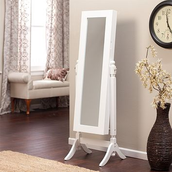 Full Length Tilting Cheval Mirror Cabinet in Gloss White Wood Finish